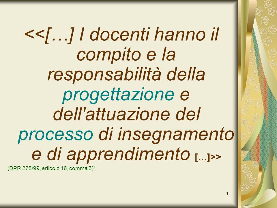 <<[…] I docenti hanno il compito e la responsabilità della progettazione e dell attuazione del processo di insegnamento e di apprendimento […]>>